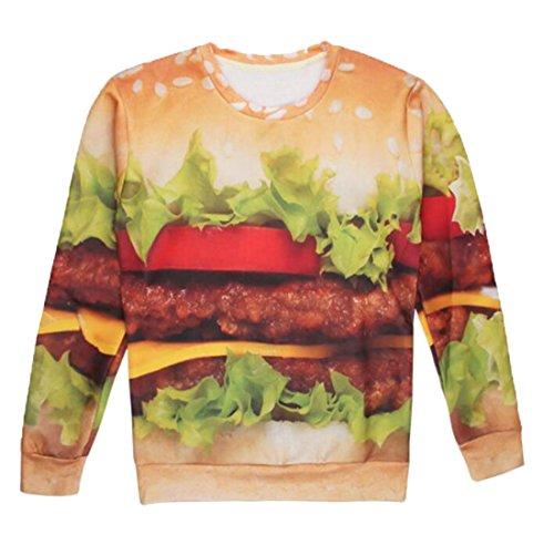XQS Unisex Hamburger Print Long Sleeve Sweatshirts Crew Orange US-XXS