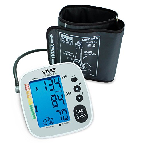 VIVE Automatic Digital Upper Arm Cuff Blood Pressure Monitor with Pulse Rate, Diastolic & Systolic Measure, Silver (Blood Pressure Testing Machine compare prices)