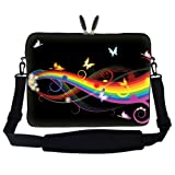 15 15.6 inch Neoprene Laptop Sleeve Portable Computer Bag Case with Carrying Hidden Handle and Adjustable Shoulder Strap (Rainbow Butterfly)