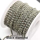 10Yards SS6 Bling Color Rhinestone Chain for Crafts-Silver Base Claw Crystal Rhinestone Chain for Jewelry Making-Rhinestones Chains for Clothes-Decorative Rhineston Chain Trim for Sewing Dress (Color: Black Diamond)