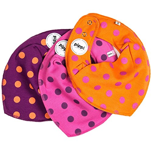 Pippi Scarf Bib - Cherry/Orange/Pink with Polka Dots 3-Pack - 1