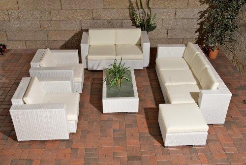 CLP Garten-Garnitur PROVENCE aus Polyrattan & Aluminium (7 Sitzplätze: 3-2-1-1 & Tisch 110 x 60 cm) inkl. Polstern & Kissen, Farbwahl weiß