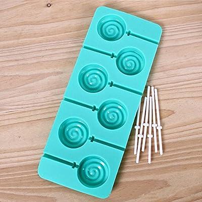 Wocuz 6 Cavity Swirl Lollipop Shape Silicone Chocolate Candy Mold with Sticks
