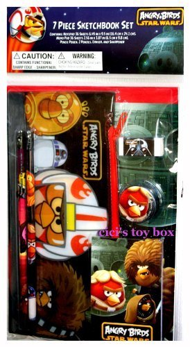 Angry Birds Star Wars Pencils & Notebook School Supply 7-Piece Sketchbook Set - 1