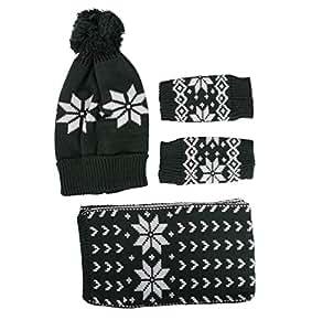 Simplicity Child Winter Wholesale Ski Beanie Scarf Gloves Set, 3593_Green
