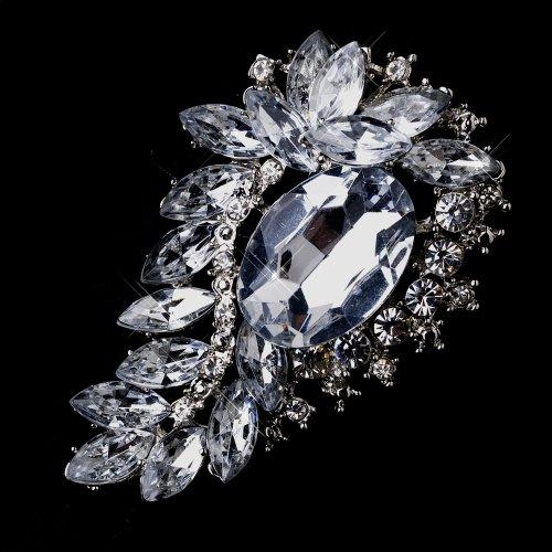 Silver Crystal Rhinestones Bridal Brooch Pin Hair Clip