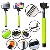 SAVFY® [Updated Version] *Build-in Bluetooth Shutter* Easy to Get the Camera Buttom Universal Selfie Self-portrait Extendable Telescopic Handheld Pole Arm Monopod Camcoder/Camera/Mobile Phone Tripod Mount Cradle for iPhone 6 5S 5 4S,Samsung, Moto G,Htc,
