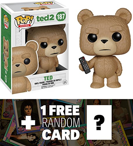 Ted (With Remote): Funko POP! x Ted 2 Vinyl Figure + 1 FREE Official Hollywood themed Trading Card Bundle [54328]