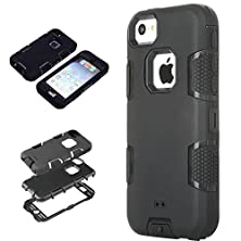 buy 5C Case, Iphone 5C Case Cover, Magicsky Full Body Hybrid Impact Shockproof Defender Case Cover For Apple Iphone 5C, 1 Pack(Black/Black)