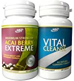 Maximum Strength Acai Berry Extreme / Vital Cleanse - With Green Tea Extract - Intense Fat Burning Weight Loss Diet Pill Combination