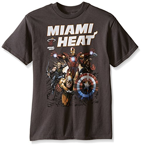 Fifth Sun Big Boys' NBA Miami Heat and Marvel Avengers Heat-Up T-Shirt, Charcoal, Large