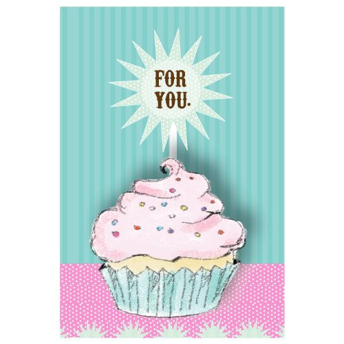 Jillson Roberts Recycled Gift Enclosure Cards, Birthday Cupcake, 12-Count (EC226)
