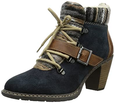 Rieker Z1521-14, Damen Kurzschaft Stiefel, Blau (pilot/mogano/grau-beige / 14), 36 EU (3.5 Damen UK)