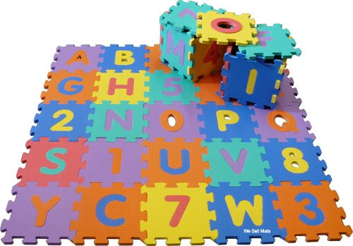 "Small Uppercase 36 PC / 9 Sq. Ft. 'We Sell Mats' Alphabet and Number Floor Puzzle-Each Tile 6""x6""x3/8"" Thick"