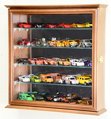 Mirrored back Hot Wheels / Matchbox / Diecast / Train Display Case Cabinet, Walnut (Die Cast Display Case 1 64 compare prices)
