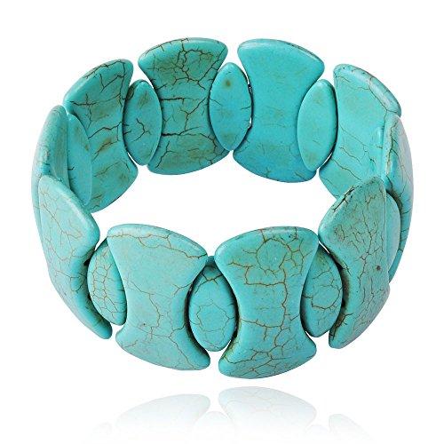 Jane Stone Turquoise Fashion Bangle Fashion Bracelet Statement Jewelry (B0224-Turquoise) front-737506