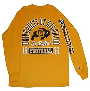Colorado Buffaloes Football Champion Mens Yellow Gold Long Sleeve T-Shirt (M) by Champion