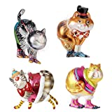 RAZ Imports - Multicolored Glass Cat Ornaments - Orange Cat (D)