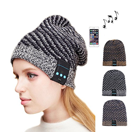 DEALPEAK Best Christmas Gift Knit Hands-free Bluetooth Music Beanie Hat Headset with Mic (Black + Grey)