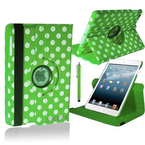 Green & White Polka Dot Samsung Galaxy Note 10.1 Smart PU Leather Case Rotating 360 Cover Travel Stand (Models N8000 / N8010) Includes Free Screen Protector & New Stylus Pen | Professional Cases and Covers with Accessories for Galaxy Note 10.1