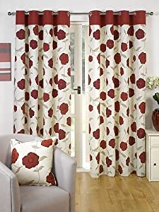 Superb 100% Cotton Red Cream Floral Poppy Ring Top Lined Curtains 90x90 **gt** by Curtains