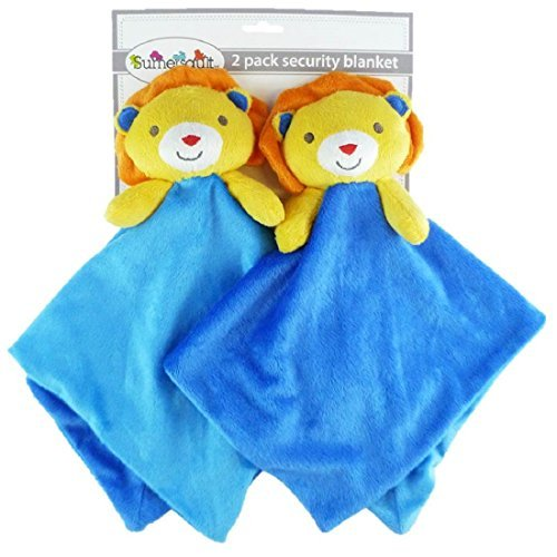 2-pack Plush Animal Security Blankets (Blue/Yellow Lions)