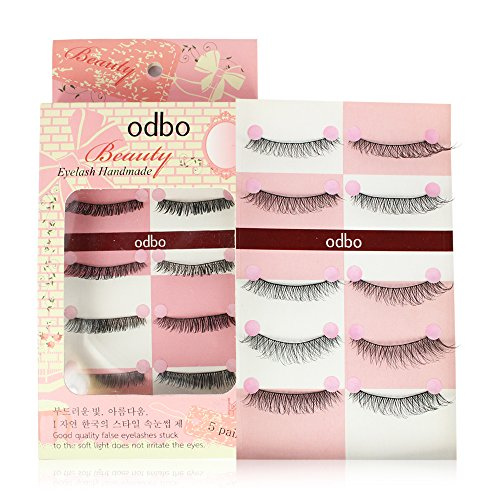 5 Pairs Handmade Natural Fake Eyelashes EyeLashesMakeup odbo No.005 (Free 1 Eyelash Growth) (Revlon Heated Eyelash Curler compare prices)