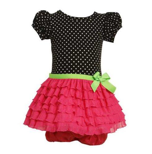 Bonnie Baby Baby-Girls Infant Black Dot To Neon Pink Eyelash Ruffle Skirt Dress, 24 Months front-993390