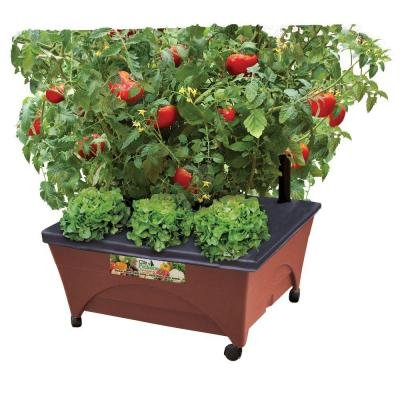 24.5 In. X 20.5 In. Patio Raised Garden Bed Kit with Watering System and Casters in Terra Cotta