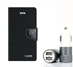 Aart Fancy Wallet Dairy Jeans Flip Case Cover for Samsung7562 (Black) + Dual USB Port Car Charger with Smartest & Fastest Technology by Aart Store.