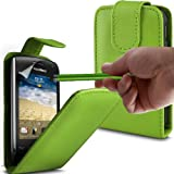 ONX3 Blackberry Curve 9380 PREMIUM PU Green Leather Flip Case + Green High Capacitive Stylus Pen + X3 LCD Screen Protector Guards
