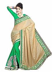 Clothsguru Women's Satin Saree with Blouse Piece (Green)