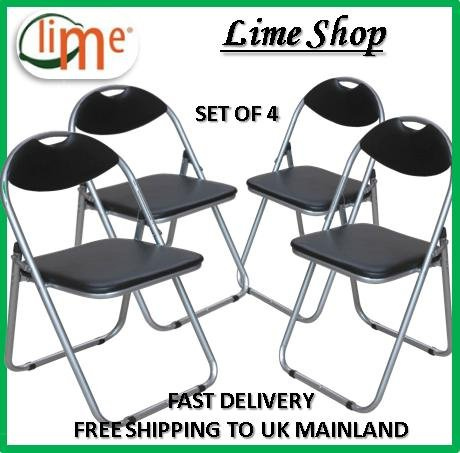 Set of 4 Folding Padded Black Chair/ Faux Leather/ New