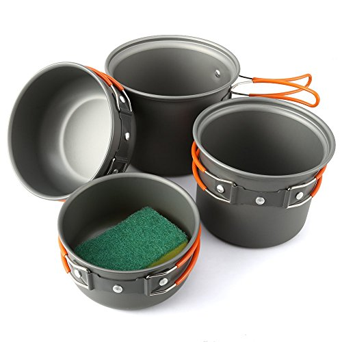Camping Cookware Mess Kit 5 Piece, EZOWare Lightweight Aluminum Cookware Cooking Pan Pot Set For Outdoor Backpacking Camping Hiking Picnic (Aluminum Cooking compare prices)