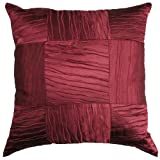 Satin Weaves Blocks Burgundy Cushion Cover 18