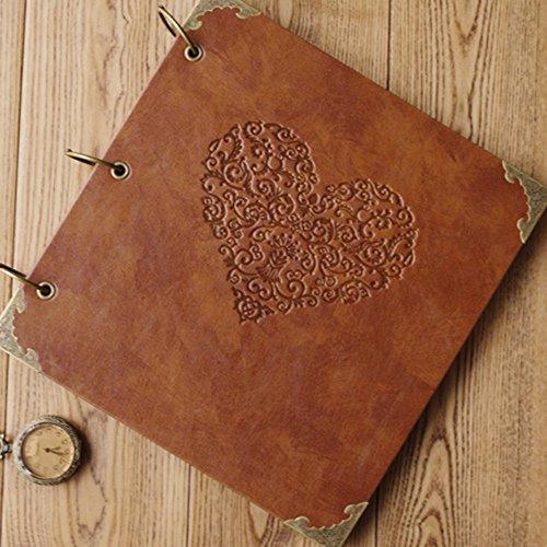 xiduobao Retro Leder Fotoalbum Special Scrapbook DIY Anniversary Scrapbook Album, Vintage Foto Album, Love Herz Hochzeit Album.