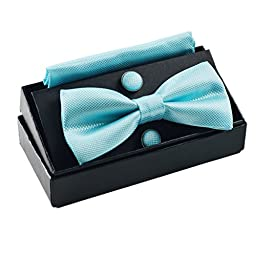 Men\'s Solid Formal Banded Pre-tied Bow Ties Set (Turquoise)