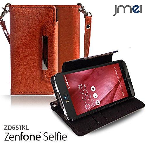 ZenFone Selfie ZD551KL カバー jmeiオリジナルレザー手帳カバー Dandy オレンジ(無地) 楽天モバイル ASUS エイスース ゼンフォン セルフィー スマホケース 手帳型 スマートフォン ケース