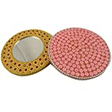 Round Small Mirror Gift Beaded Lac Indian Free Shipping Handheld Home Decor Handmade Vanity Cosmetic Mirror Pocket Purse Mirror