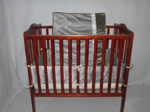 Baby Doll Crocodile Port-a-Crib Bedding Set, Silver/Grey