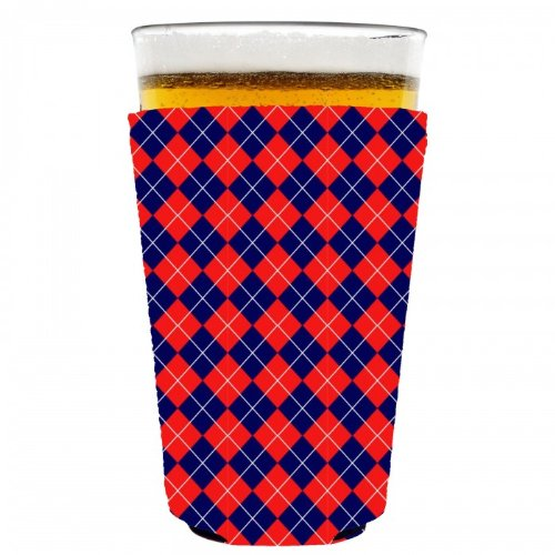 Coolie Junction Argyle Pattern Pint Glass Coolie Red/Navy