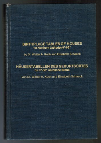 Birthplace tables of houses for northern latitudes 0 to 60 =: Hausertabellen des Geburtsortes fur 0 - 60 nordliche Breite (ASI astrology tables) PDF