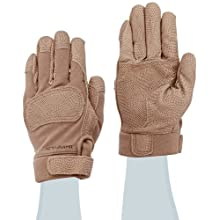 "Ansell ActivArmr 46-410 Nomex Kevlar Flame Resistant Tactical Combat Glove with Textured Grip, Cut Resistant, 10"" Length, Large, Tan (1 Pair)"