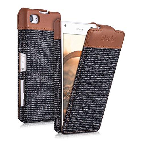 kalibri-Flip-Case-Hlle-Emma-fr-Sony-Xperia-Z5-Compact-Aufklappbare-Stoff-und-Echtleder-Schutzhlle-Tasche-im-Flip-Cover-Style-in-Braun-Anthrazit