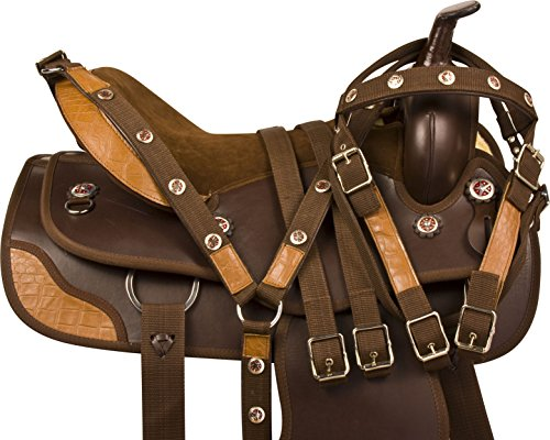 NEW GATOR TRIM BROWN DURA LEATHER SYNTHETIC WESTERN PLEASURE TRAIL COMFY MULE HORSE SADDLE TACK PACKAGE (16) (Barrel Racing Saddle Package compare prices)