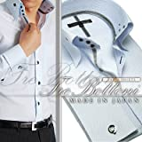 トレボットーニ・センターボタンダウンドレスシャツ(ダブルカフス)/サックス(ブラッククリスタルリボン)【Le orme】日本製・長袖・メンズワイシャツ・カフスボタン2個付き(JS-9589-70)
