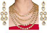Imlistreet Four Lines Kundan Necklace with Pair of Earrings