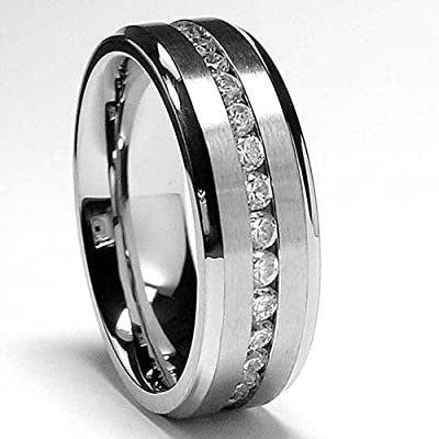 7MM Men's Eternity Titanium Ring Wedding Band with CZ sizes 5to 13: Jewelry