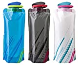 Foldable Collapsible Travel Water Bottle BPA Free - 0.7 Liters - Perfect for Gym, Hiking, Yoga, Camping (Blue)