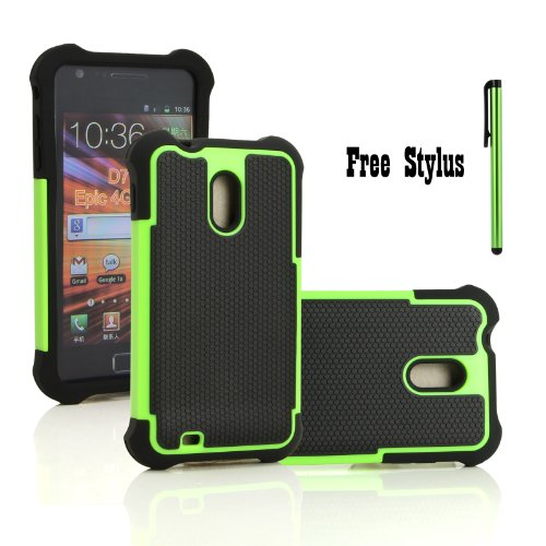 Anti-Shock and Drop Dual Layer Hybrid Case for The Sprint Samsung Galaxy S2 II (SPH-D710), US Cellular Samsung Galaxy S2 II (SCH-R760), The Boost Mobile & Virgin Mobile & Ting Samsung Galaxy S II 4G - Soft and Hard Case Cover Skin (Black and Green + One Free Stylus Pen) (Sprint Samsung Galaxy S2 Case compare prices)